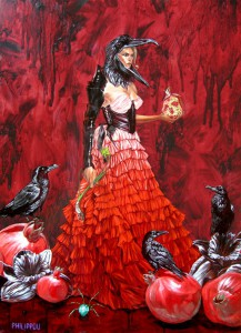 http://thinkspacegallery.com/2010/08/show/Tony-Philippou-Iron-Queen---17.5x24.25---oil-on-wood---$2400.jpg