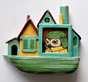 http://thinkspacegallery.com/2014/10/show/kellyvivanco_Owls-Houseboat.jpg