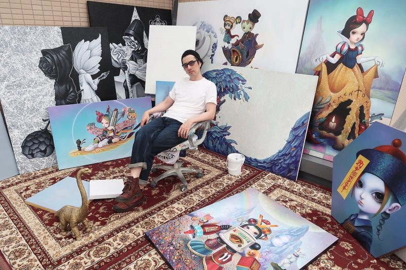 Yosuke Ueno In Studio Surrounded by Their Paintings