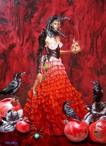 http://thinkspacegallery.com/2010/08/show/Tony-Philippou-Iron-Queen---17.5x24.25---oil-on-wood---$2400.jpg